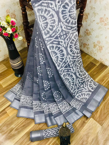 Heavy fabric cotton slub saree with a blouse for running use Gray color saree for women