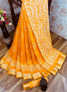 Heavy fabric cotton slub saree with a blouse for running use Orange color saree for women