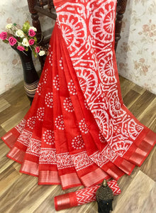 Heavy fabric cotton slub saree with a blouse for running use Red color saree for women