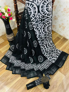 Heavy fabric cotton slub saree with a blouse for running use Black color saree for women