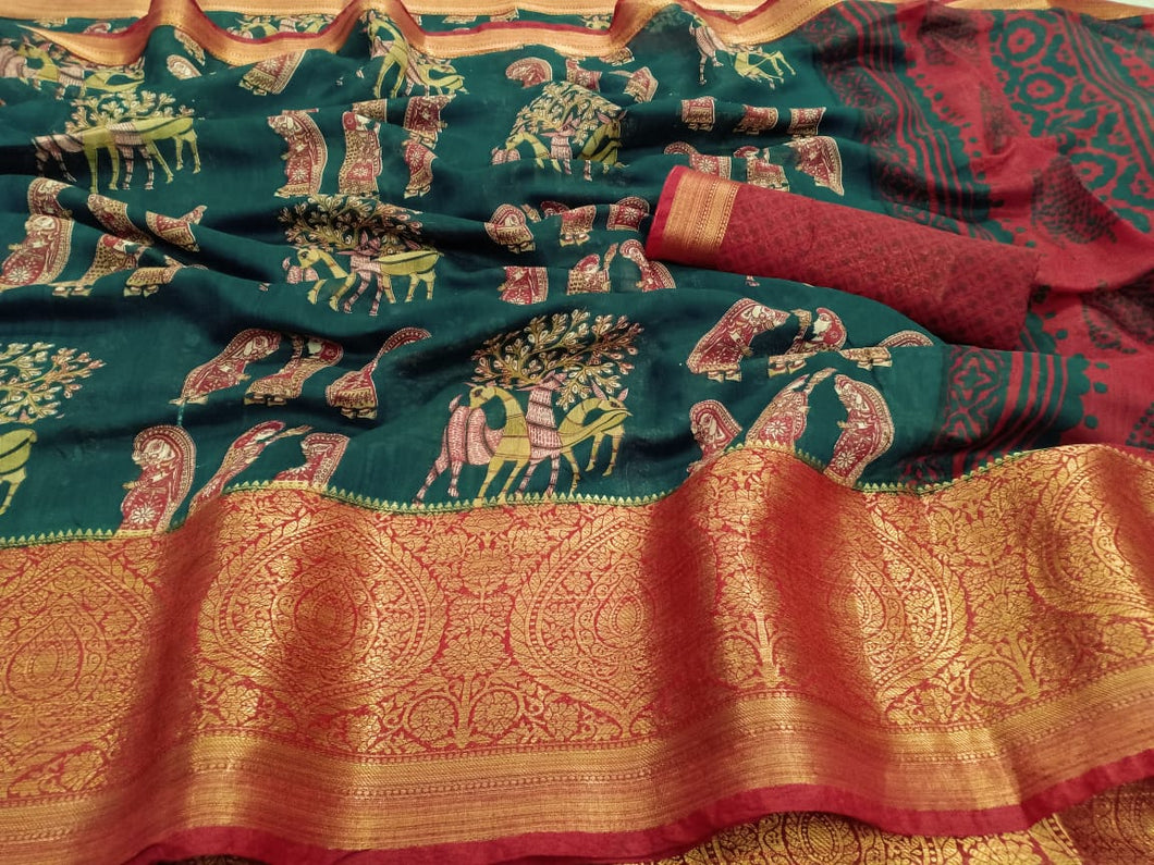 Soft Silk with big pannel 9 inch jaquard kanchipattu border multi color saree for women