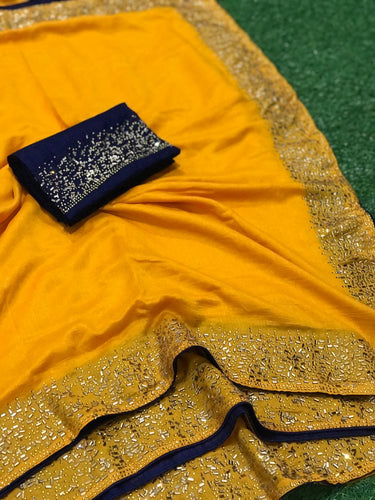 Festival Collection new Designer Saree All Over Diamond work, Blouse with Diamond work Yellow color