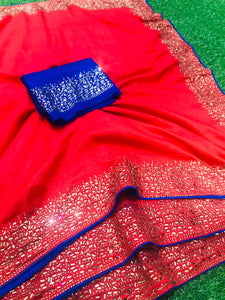 Festival Collection new Designer Saree All Over Diamond work, Blouse with Diamond work Red color