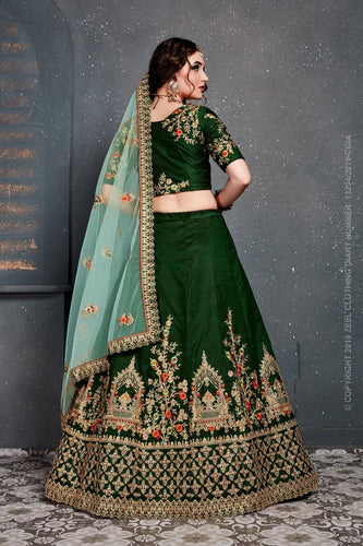 Bridal Green color Heavy Lehenga choli with dupatta and unstich blouse.