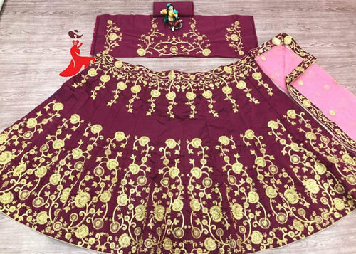 Maroon Malay Satin Heavy Lehenga choli spacial for function