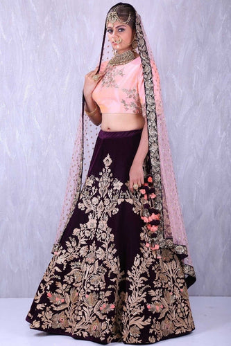 Maganta n Peach Colored Blouse Embroidered Attractive Party Wear Lehenga Choli.