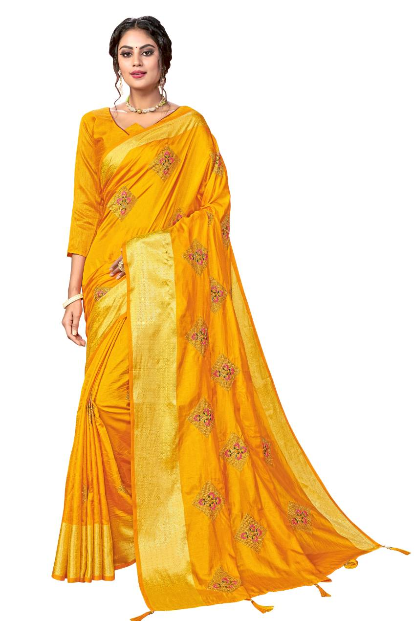 Embroidery Work and Jacquard Woven Pattu Border Sana Silk with Blouse Yellow color saree