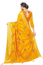 Load image into Gallery viewer, Embroidery Work and Jacquard Woven Pattu Border Sana Silk with Blouse Yellow color saree