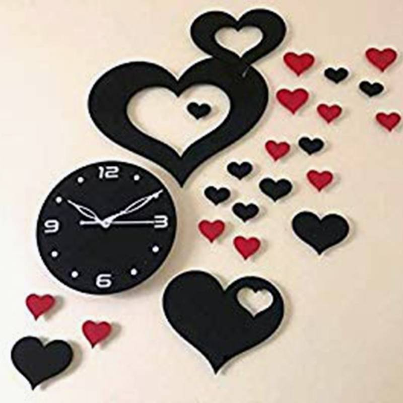 Big Hart shape design Acrylic wall watch
