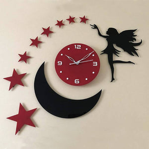 Star moon and angel Design Acrylic wall watch