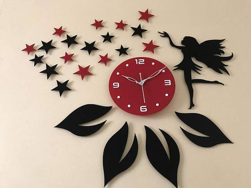 Star and angel design Acrylic wall watch