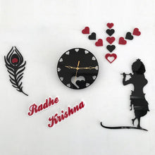 Load image into Gallery viewer, Radha Krishna design with feather Acrylic wall watch