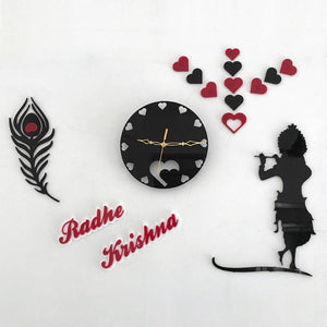 Radha Krishna design with feather Acrylic wall watch