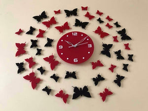 Butterfly design Acrylic wall watch Red and Black color