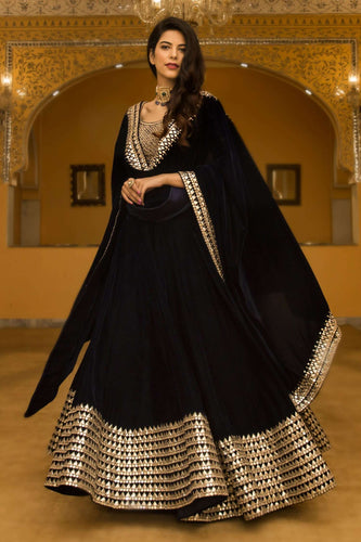 Black Embroidered Attractive Party Wear Lehenga Choli  with Matching Color unstiched blouse.