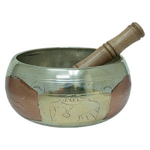 Tibetan Singing Bowl Silver and Gold 6""