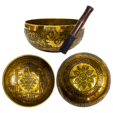 Singing Bowl Ancient Design Handcrafted 5in - Sri Yantra