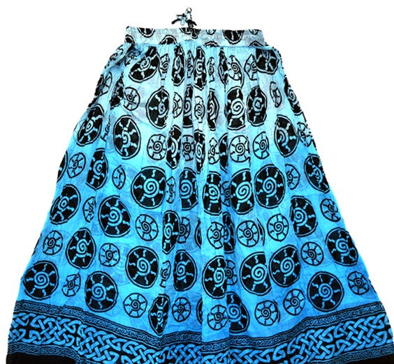 Spiral Cotton Skirt Turquoise/Blue- Crinkle Style