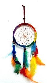Multi-Colored Dreamcatcher With Feathers & Beads