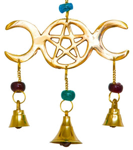 Triple Moon Wind Chime Brass with Beads