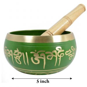 "GREEN TIBETAN MEDITATION SINGING BOWL - 4""D"