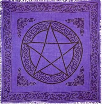 "Pentagram Altar Cloth 36x36"" Purple/Black"
