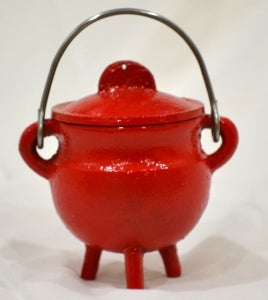 Cast Iron Cauldron w/Lid RED