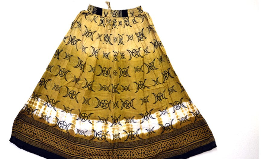 Triple Moon Pentacle100% Cotton Skirt Yellow/Golden Brown
