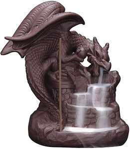 Dragon on Castle Ceramic Backflow Incense Burner