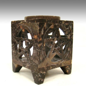 Soap Stone Aroma Lamp Pentacle carved Square