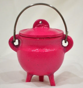 Cast Iron Cauldron w/lid  PINK