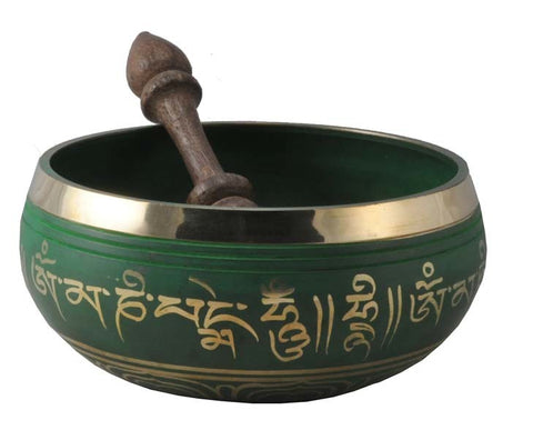 Tibetan Singing Bowl - Green 5""