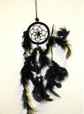 Black Dream Catcher With Feathers & Beads