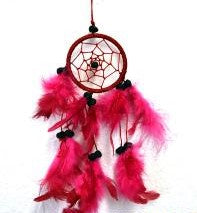 Red Dream Catcher With Feathers & Beads