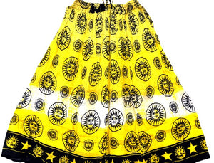 Sun God 100% Cotton Skirt Yellow Crinkle Style