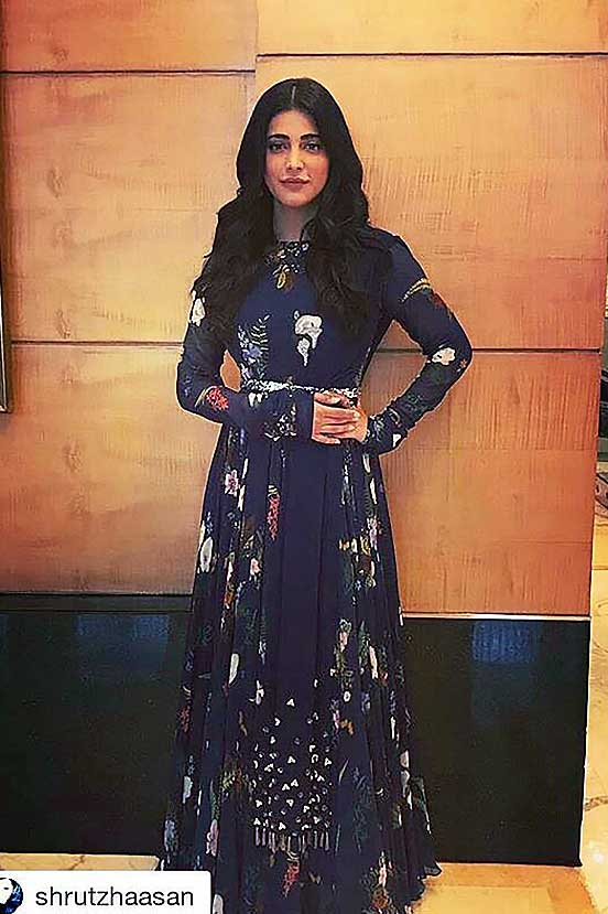Shruti Hassan In Our Blue Printed Anarkali Set