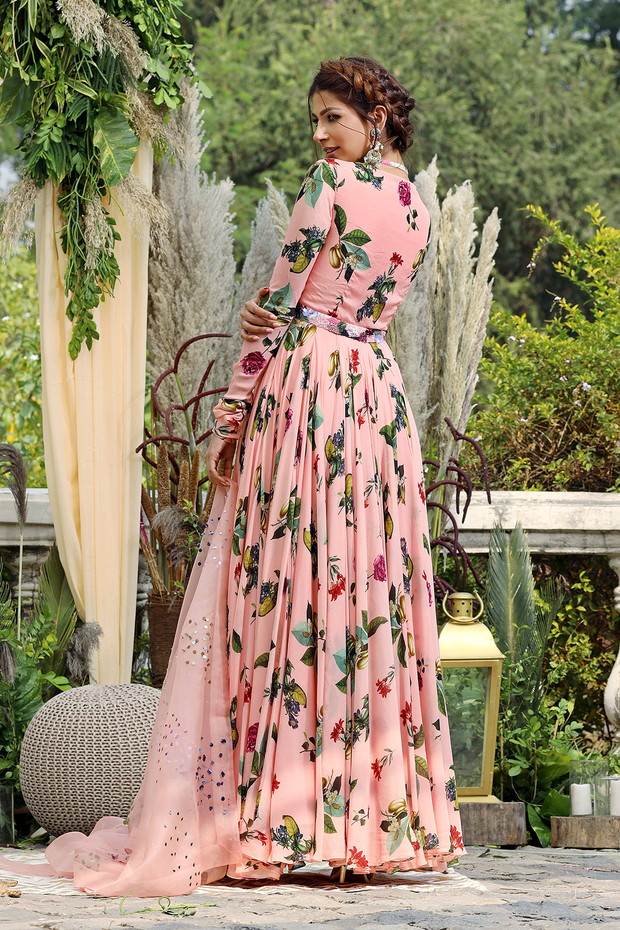 Blush printed anarkali set