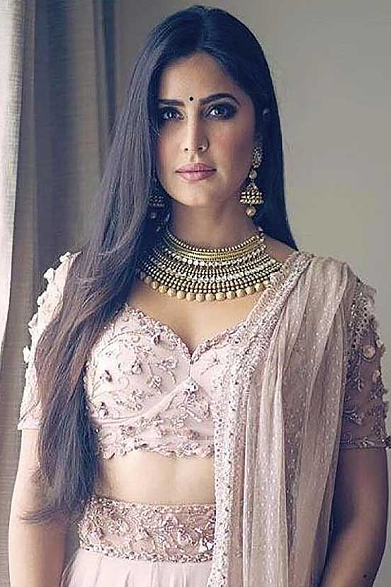 Katrina Kaif in Nude Sheer Back Blouse Lehenga Set