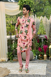 Blush one side drape kurta