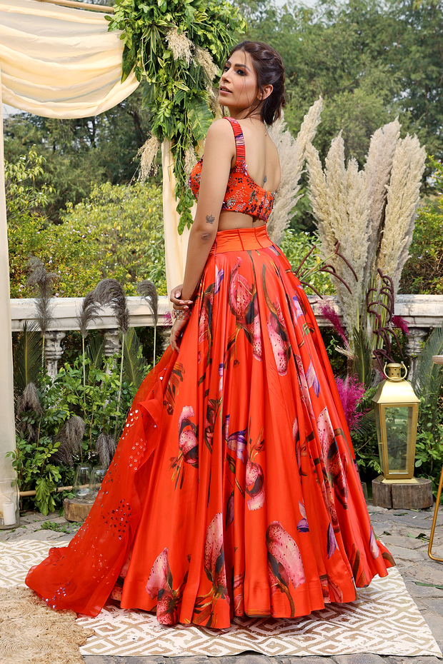 orange printed model satin lehenga set