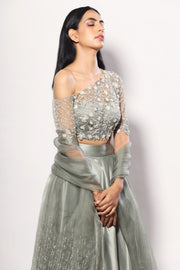 Olive one-off shoulder heavy embelished blouse lehenga set