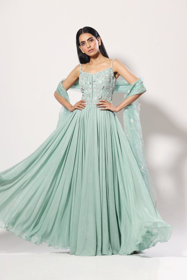 Aquamarine heavy bodice embelished anarkali set