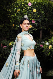 Aquamarine printed georgette lehenga set