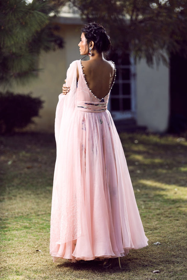 Blush slit anarkali