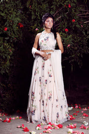 Ivory tiered lehenga set