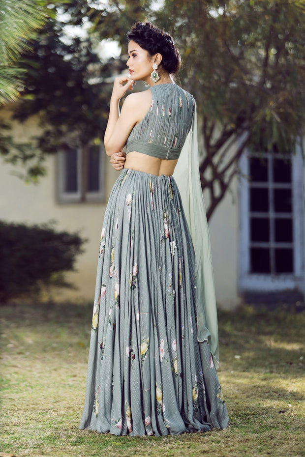 Olive green ruchhed back cut-out anarkali set