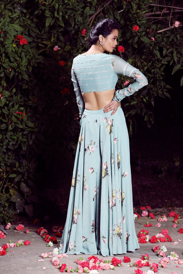 Aquamarinemoss crepe crop top lehenga set