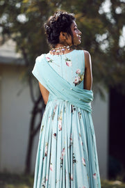 Aquamarine neck peral finished printed anarkali set