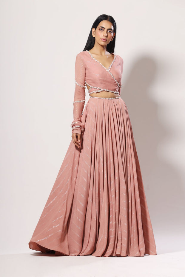 Blush back cut-out lehenga set