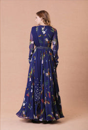 Blue Printed Anarkali Set